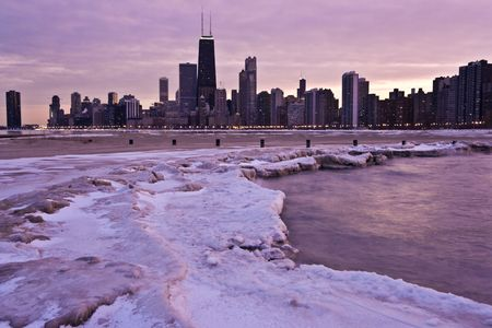 Pink Evening in Downtown Chicago, IL.