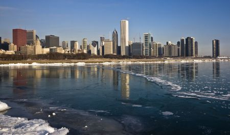 aon: Winter in Downtown Chicago, IL. Stock Photo
