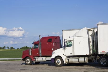 Trucks on the parking lot photo