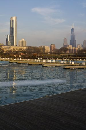 Winter morning in Chicago, IL photo