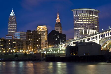 Skyline of Cleveland - evening time. photo