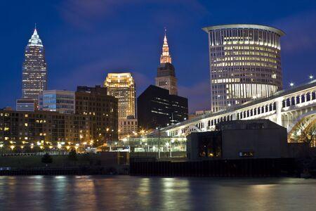 Skyline of Cleveland - evening time.