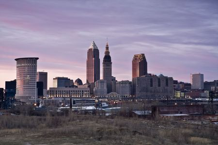 Pink sunset in Downtown Cleveland   Stock Photo - 4927313