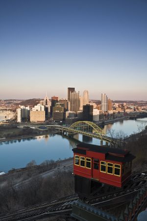 Red Trolley in Pittsburgh, Pennsylvania. photo