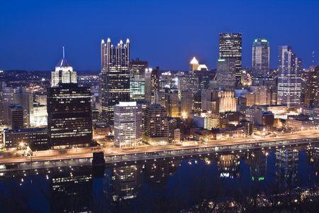 pittsburgh: Night Skyline of Pittsburgh, Pennsylvania Stock Photo