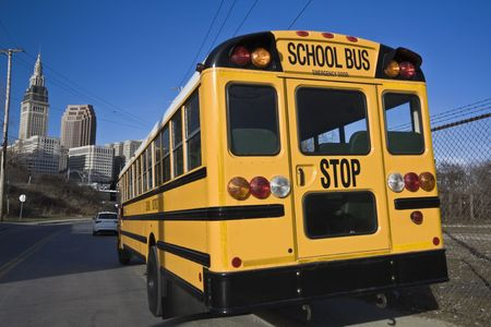 School Bus in Downtown Cleveland. Stock Photo - 4927859