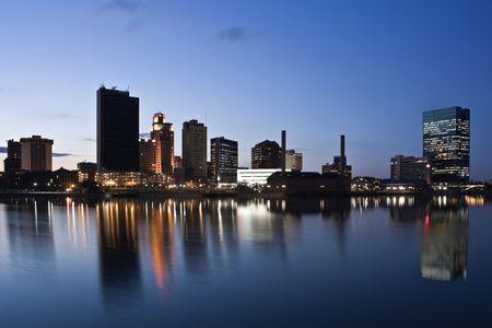 Downtown of Toledo, Ohio - night time.