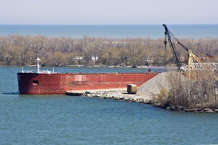 erie: Red Ship seen in Erie, Pennsylvania Stock Photo