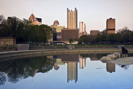 Reflected Skyscrapers in Downtown Pittsburgh, Pennsylvania. photo