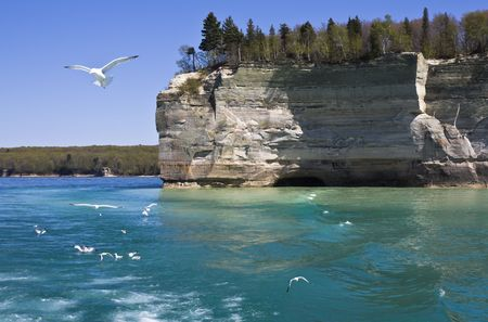 pictured: Cliffs in Pictured Rocks National Lakeshore