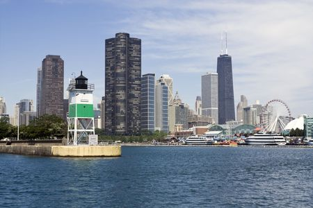 Lighthouse in Chicago - seen from the lake. photo