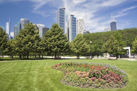 windy city: Flores en el centro de Chicago, IL. Foto de archivo