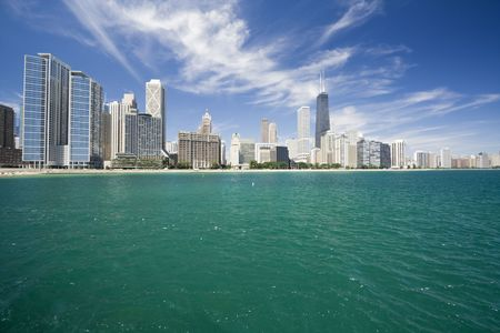 aon: Amazing Gold Coast in Chicago, IL. Stock Photo
