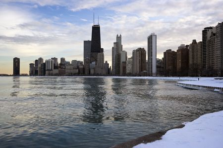 Winter in Downtown Chicago, IL, Gold Coast. Stock Photo