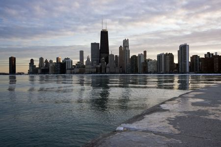 Panorama of Chicago - sunset time.