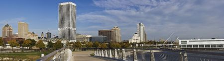 xxxl: XXXL Panoramic Morning in Milwaukee, Wisconsin. Stock Photo