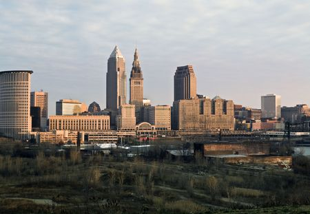 Downtown Cleveland - seen during late autumn. photo