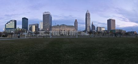 Downtown Cleveland, Ohio at sunset. photo