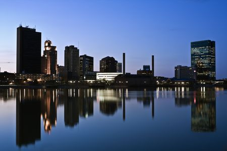 night time: Downtown of Toledo, Ohio - night time.