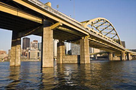 pittsburgh: Yellow Bridge in Downtown Pittsburgh , Pennsylvania.