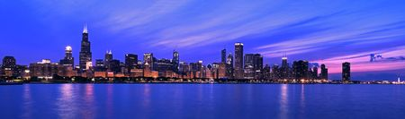 aon: XXL - Famous Chicago Panorama. Night Time. Stock Photo
