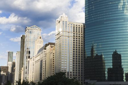 aon: Architecture along Chicago River during summer day. Stock Photo