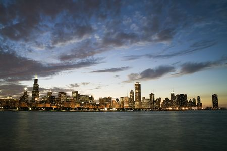aon: Famous skyline of Chicago, IL. Stock Photo