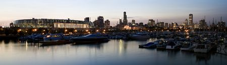 aon: Panoramic View of Chicago from marina. Stock Photo