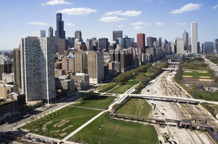 aon: Downtown of Chicago seen from the south side. Stock Photo