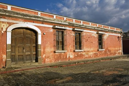 fasade: Antigua, Guatemala -  seen after rain. Stock Photo