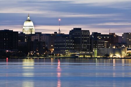 Downtown of Madison accross Monona Lake photo