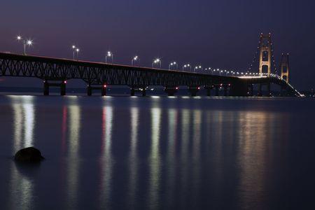 mackinac: Mackinac Bridge in Michigan, night time. Stock Photo