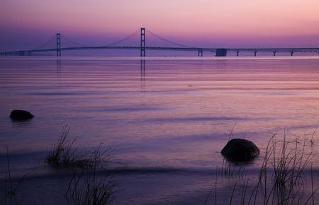 mackinac: Mackinac Bridge in Michigan, sunset time.