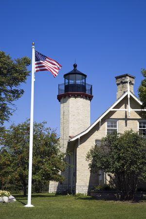 lake michigan lighthouse: McGulpin de Lighthouse Point, Michigan, EE.UU.. Foto de archivo