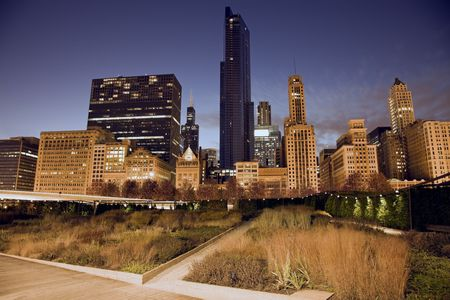Prairie in downtown Chicago - seen evening time. photo