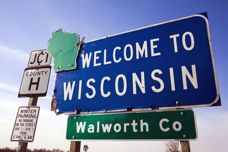Welcome to Wisconsin road sign. photo