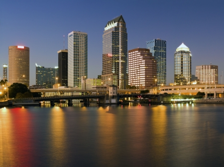 Colorful downtown of Tampa - sunset time.