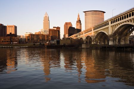 Downtown Cleveland, Ohio at sunset. photo