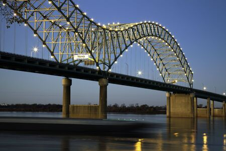 tennessee: Barque under Hernando de Soto Bridge - Memphis, Tennessee. Stock Photo