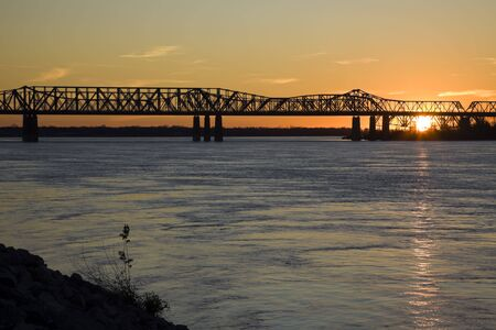 mississippi river: Sunset by Mississippi river - Memphis, Tennessee.