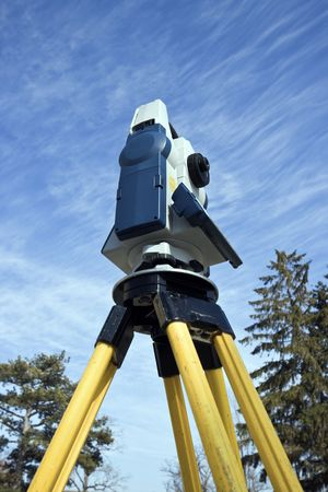 Theodolite seen from ground level. Stock Photo