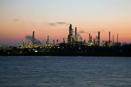 Refinery in Canada seen across the border river from Port Huron, Michigan, USA. Stock Photo - 6151693