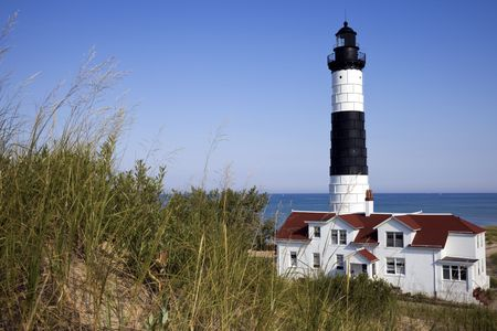 sable: Big Sable Point Lighthouse, Michigan, USA. Stock Photo