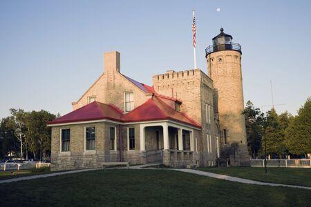 mackinac: Mackinac Point Lighthouse, Michigan, USA. Stock Photo