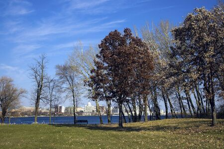 Capitol of Wisconsin seen across frozen Monona Lake. photo