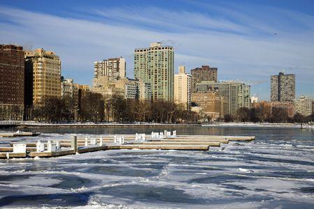 Iced marina in Chicago - Gold Coast. photo