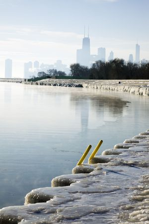 January morning in Chicago - silhouette of downtown in the background. photo