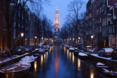 Cool Amsterdam - winter in Netherlands. Stock Photo