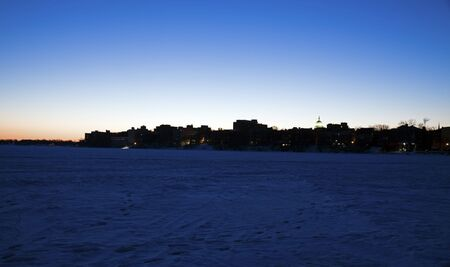 Downtown Madison silhouette - seen from frozen Lake Mendota. photo