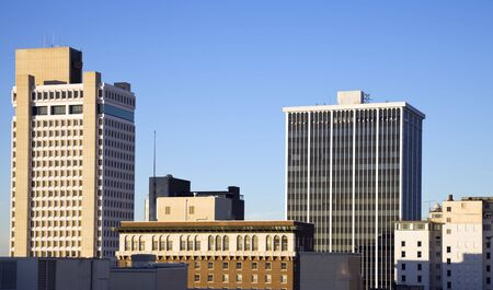 barque: Architecture of Little Rock, Arkansas. Blurred barque in the foreground. Stock Photo
